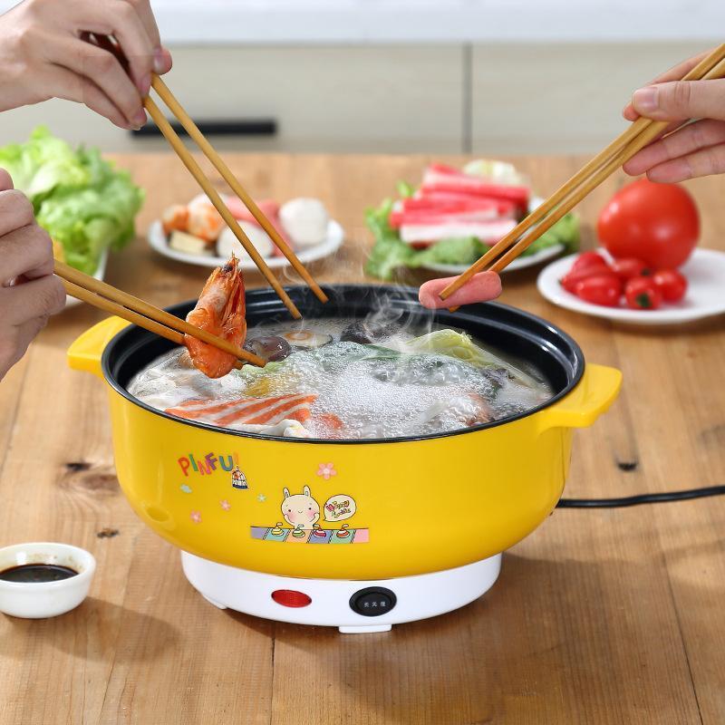 Multifuncional Fogão Elétrico Mini Aquecimento Pan de Aço Inoxidável Hotpot Macarrão de Arroz Steamer Ovos cozidos no vapor Potenciômetro 2L UE