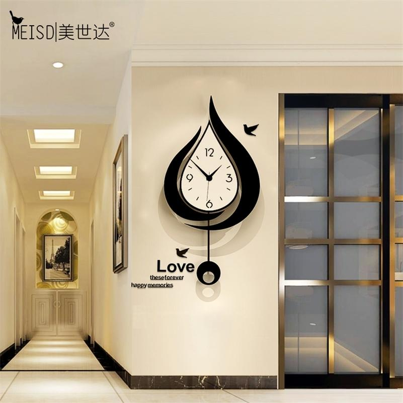 Meisd Nordic Design Montre Creative Quartz Silent Wall Horloges Pendule Diy Stickers Accueil Décor Salon Horloge Livraison Gratuite Lj201211