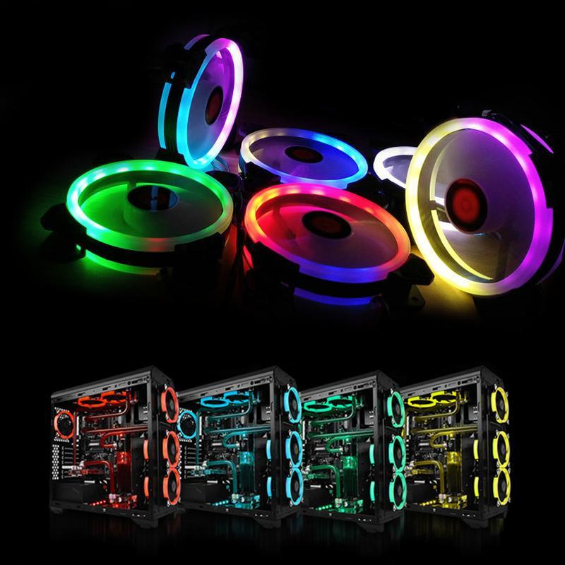 Flashing RGB Ring Aurora Cooling Fan 120MM 6pin Controller RGB LED Strip For Computer Water Cooler Color Adjustable Radiator Fan