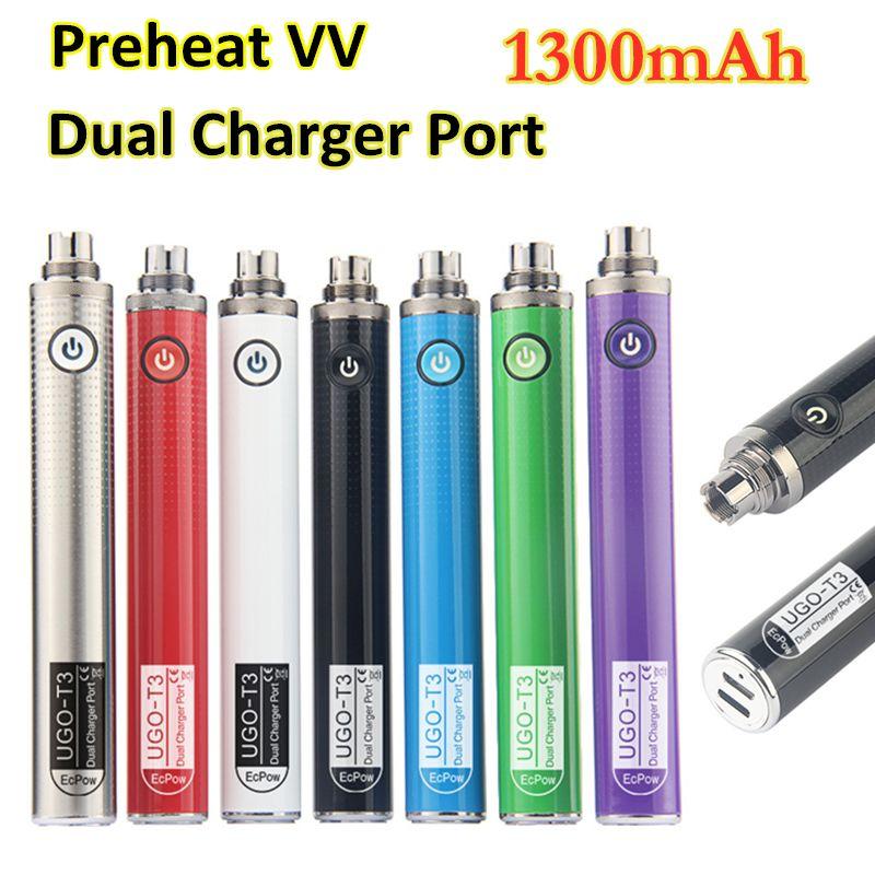 Original Preheating Dual Charger Port battery 1300mah pre-heat batteries Ecigs ugo t3 variable voltage vaporizer vape pen
