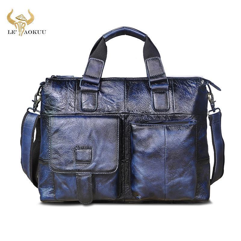 Hombre Calidad Hombro Tote Cuero Laptop Portátil Viajes Vintage Bag Case Maletas Messenger Design Portfolio Maletín B260 Kxcri