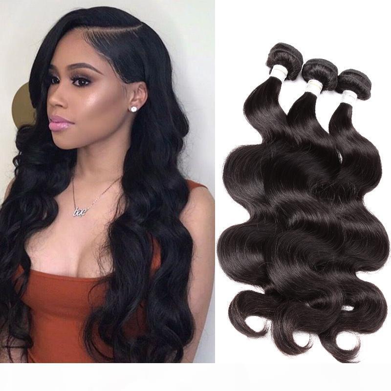 Bella Saç mı? 9A 10 ~ 24in Brezilyalı Virgin İnsan Saç Atkı Uzantıları Vücut Dalga Dalgalı Doğal Siyah Renk 3 adetgrup Ücretsiz Kargo Julienchina
