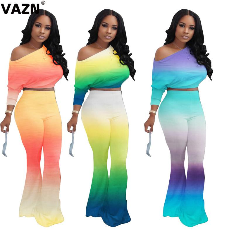 VAZN 2020 Autumn Hot High Quality Young Sexy Sweet Daily Free Full Sleeve Group Long Boot Cut Pants Slim Women 2 Piece Set