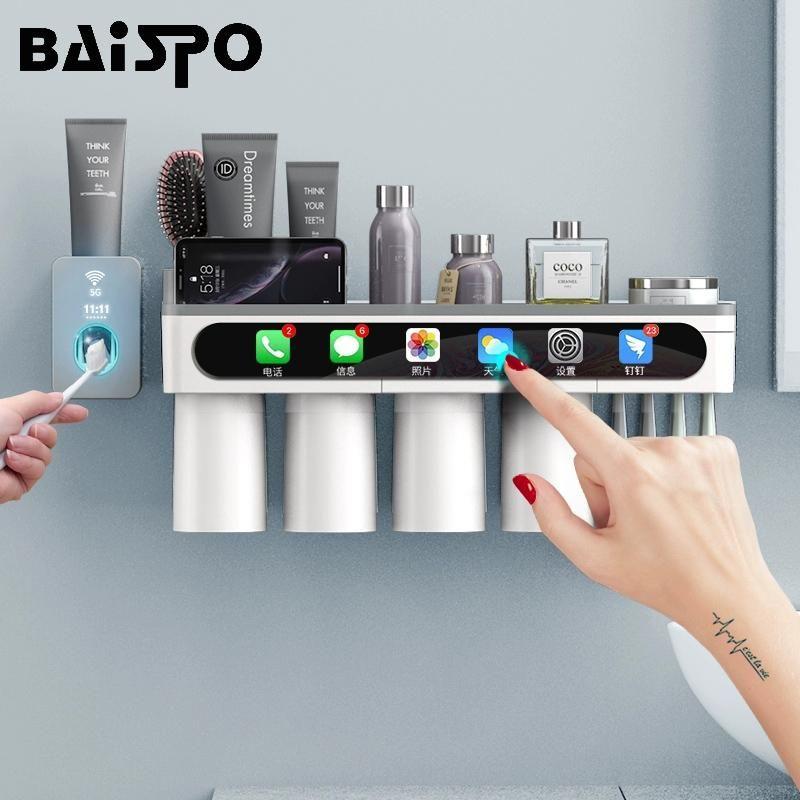 Baispo Magnetic Adsorption Toothbrush Titular Invertido Cup Wall Mount Bathroom Cleaner Cleaner Rack Acessórios de Banheiro Conjunto