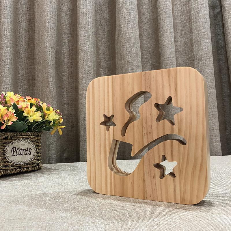 Holzrohr geschnitzt Nachtlicht Holz Nachttischlampe Kind Baby Nachtlicht Relax Atmosphäre oder Geburtstagsgeschenk