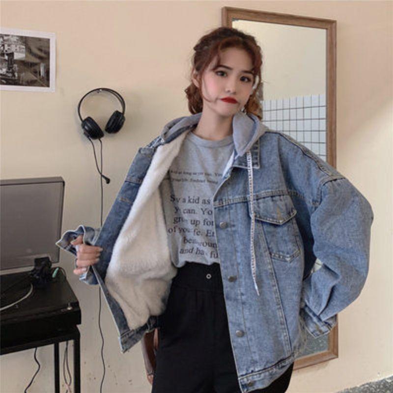 Manteau Femme Hiver Hiver Détachable Lamblage Veet Veet Doublure Lâche Veste de denim à boutons décontractés