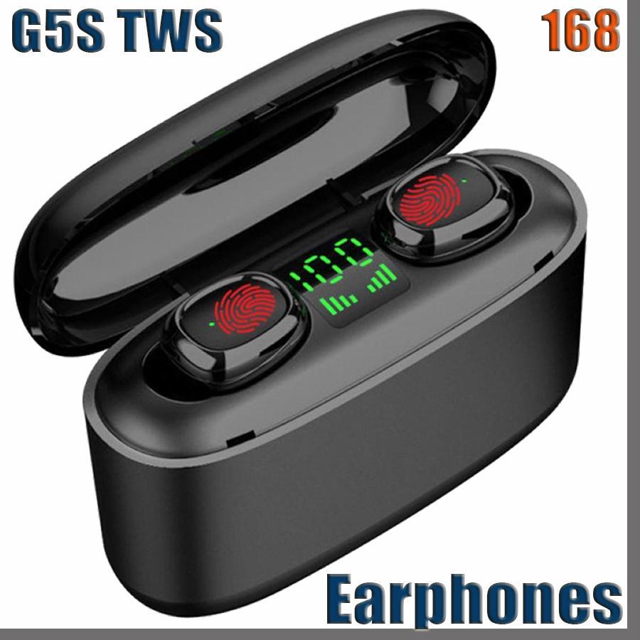 168D 무선 이어폰 블루투스 V5.0 G5S TWS 무선 블루투스 헤드폰 LED 디스플레이 3500mAh 전원 은행 헤드셋 마이크로