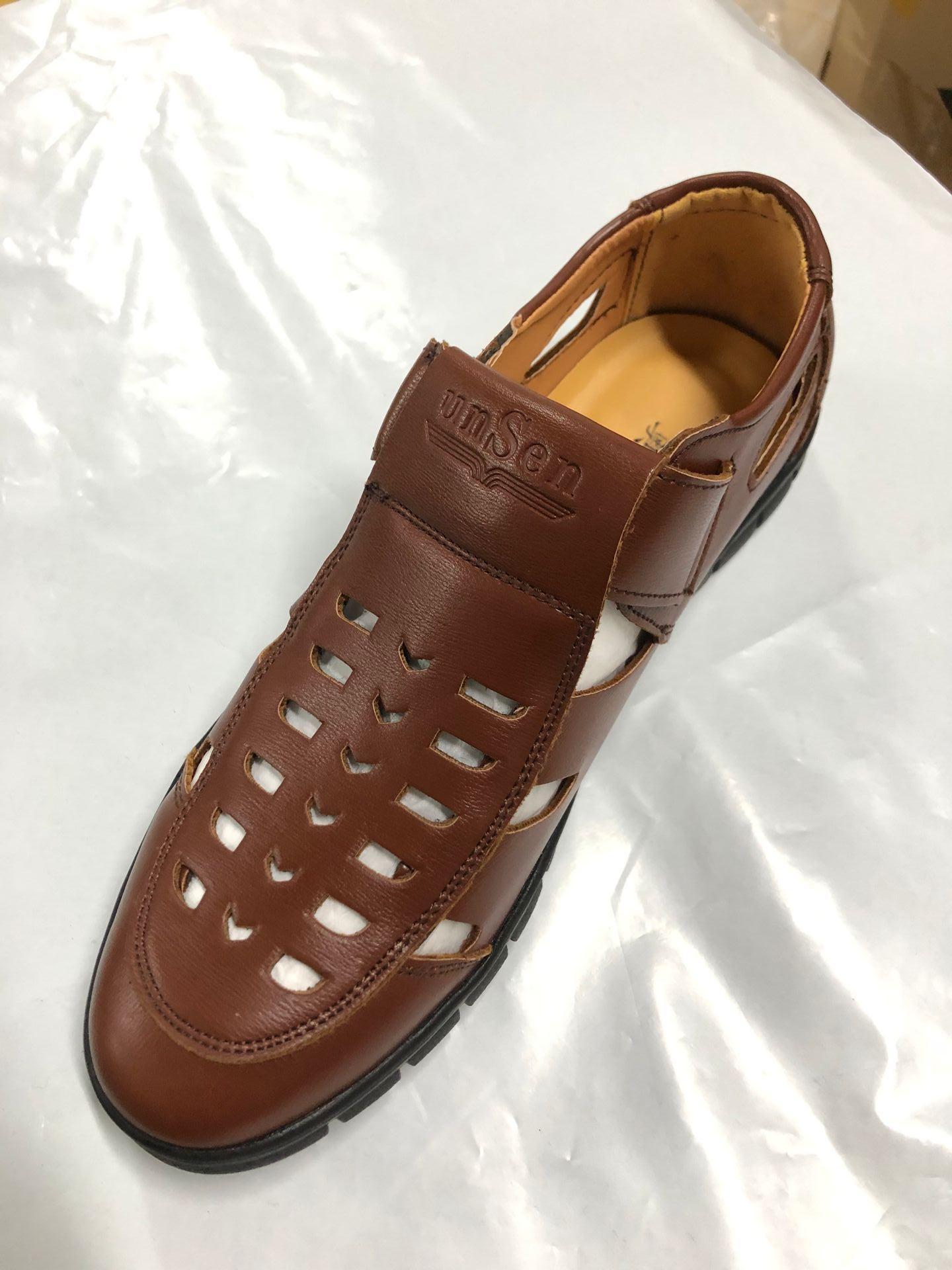 Hombres Sandalias Sandalias de Cuero Hombres Moda Marrón Cómodo Ocio Marca Zapatos Hombres Playa Sandalias Slippers Plus Tamaño 40