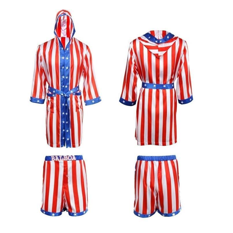 روكي بالبوا أبولو فيلم الملاكمة العلم الأمريكي تأثيري رداء السراويل الملاكمة زي رداء وشورتات S-XXL حجم 201216