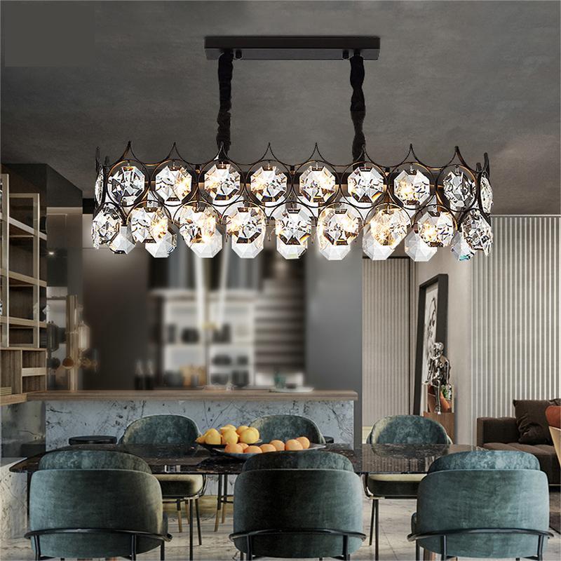 Moderna illuminazione lampadario nero per pranzo in cristallo rettangolo camera lampade cucina di lusso isola nera / oro lampada cristal