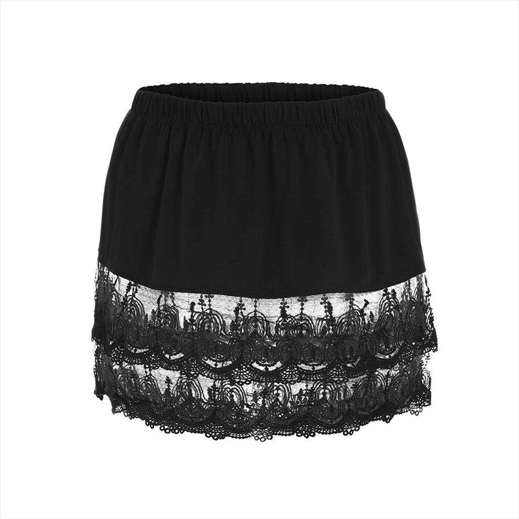 Verano bordea a las mujeres en capas con gradas del escarpado borde de encaje Extender la mitad resbalones más el tamaño de la falda más el tamaño de Xl partido 5Xl faldas ocasionales