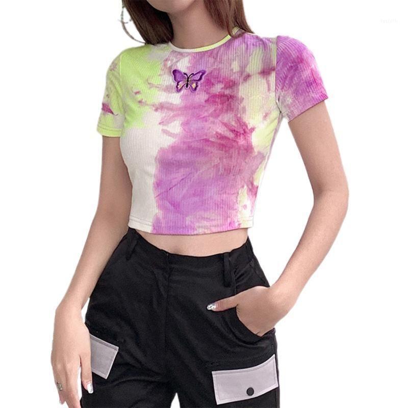 2021 Mais Novos Chegada Mulheres Verão Casual Crop Top Feminino Manga Curta Tie Tye Print Basic Tee Holiday Sportswear Outfits1