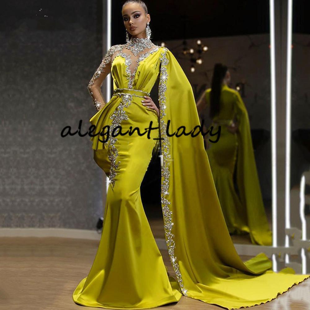 Лимонный High Neck вечерние вечерние платья с длинным рукавом мыса 2021 Sparkly Кристалл Кафтан Кафтан арабский Пром платья Vestidos де