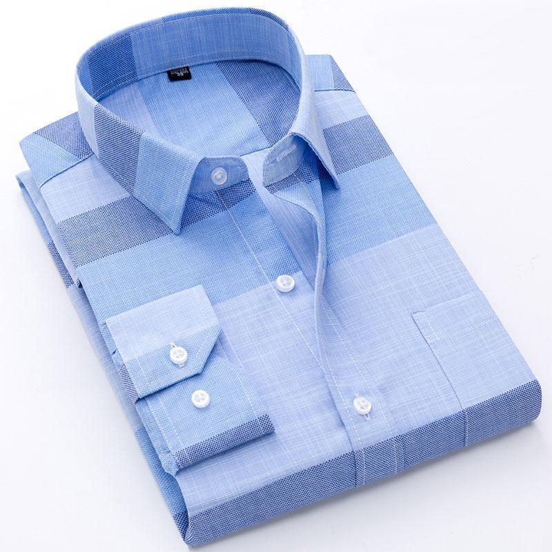 Formale Männer gedruckt / Plaid Kleid Hemd Langarm Soziale Mode Tops Büro Weiche Qualität Reguläre Fitarbeit Smart Casual Shirt