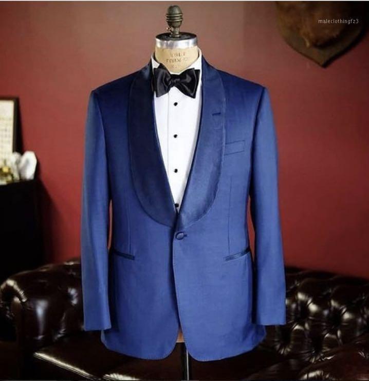 Две штуки синие мужские костюмы шаль откалы Slim Fit Custom Made Wedding Groom Tuxedos 2020 вечерняя вечеринка носит (куртка + брюки) 1
