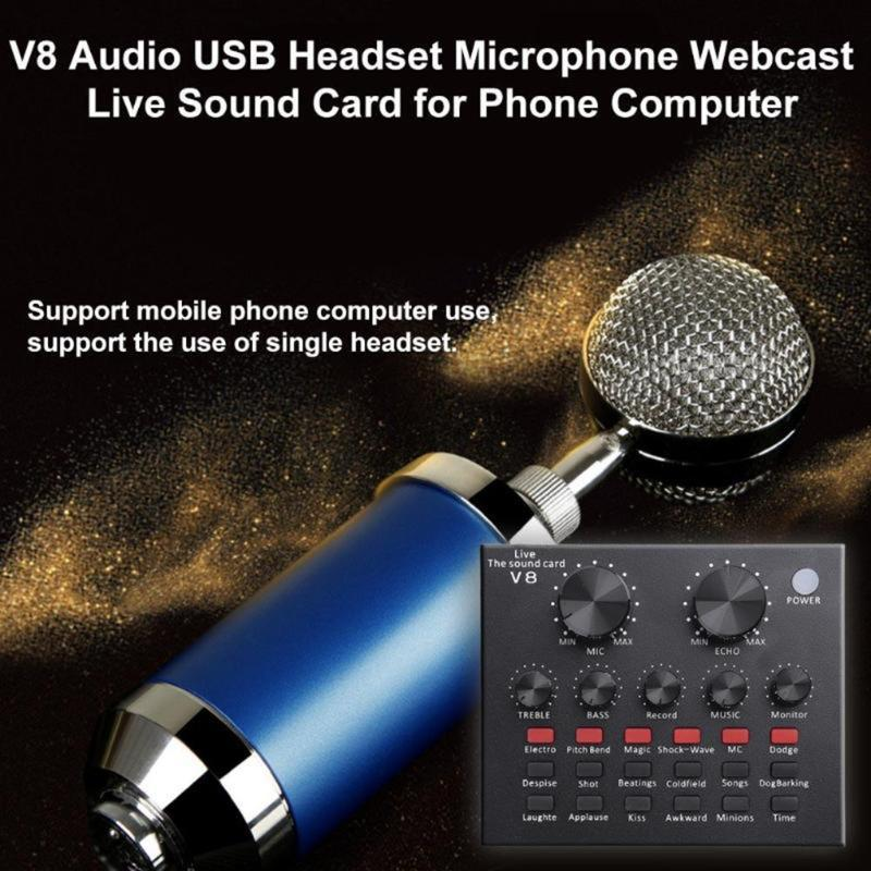V8 External Sound Card Mobile Phone Microphone Live USB for Mobile Computer Audio Interface Sound Card with Bluetooth