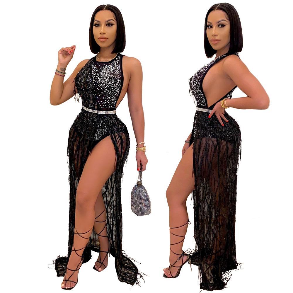 Femmes mousseux Paillettes Boîte de nuit robe de soirée 2020 Automne Lady O-cou manches Backless Glands haut de Split-parole longueur robe