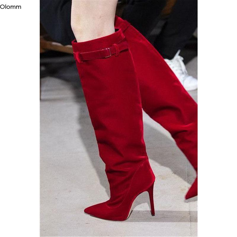 Olomm 2020 Handmade зимы женщин Колено Высокие сапоги Sexy Stiletto Высокие каблуки Toe Великолепная остроконечные красные туфли Женщины Плюс Размер США 5-15