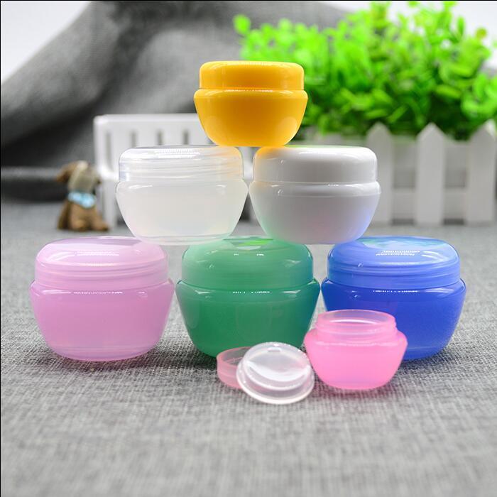 Di trasporto 5g / ml di plastica vaso Bottiglia vuota Rosa Clear Blue Eye Cream Gel Piccolo rossetto Campione contenitori cosmetici