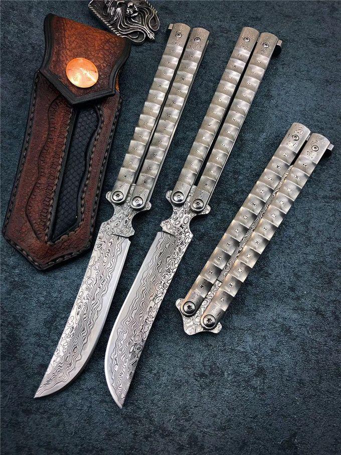 TheOne 시스템 BRS 모든 다마스커스 강판 나비 스윙 칼 벤치 메이드 부시 시스템의 자기 방어 하이킹 사냥 전술 EDC 도구를 칼