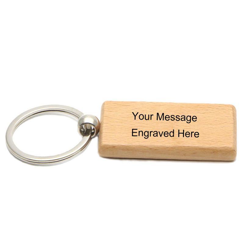 50X Blank Key Chain di legno rettangolare 2.2 '' * 1.19 '' Laser incisioni personalizzate Portachiavi Legno # KW01C