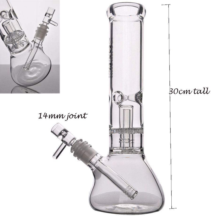 11.8 Inchs Beaker Boong Downstem Perc Heady Glass Water Bongs Smoking Pipe Shisha Hookahs Glass Oil Rigs Hookahs With 14mm