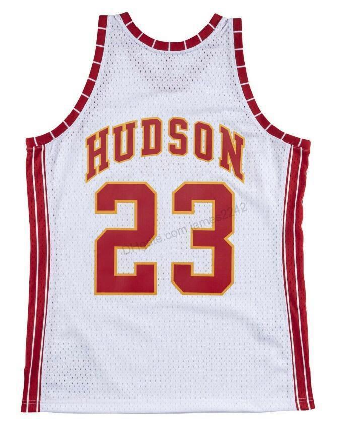 Billig benutzerdefinierte Retro # 23 Lou Hudson Mitchell Ness Basketball Jersey Männer Alle genähten Weiß Jede Größe 2xs-5XL Name oder Nummer Freies Verschiffen