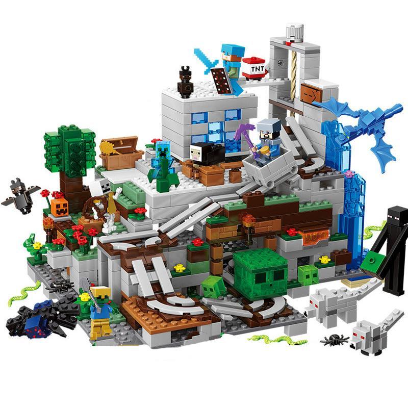 산 동굴 작은 버전 빌딩 블록 액션 피겨 호환 minecraftings 21137 내 세계 벽돌 선물 장난감을 설정 C1114