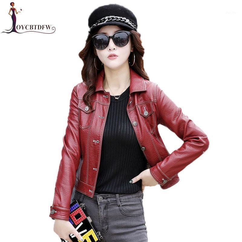 Hakiki Deri Ceket Büyük Boy M-4XL Sonbahar Kadınlar Tek Göğüslü Ceket Moda Rahat Ince Bayanlar Deri Fashion4831