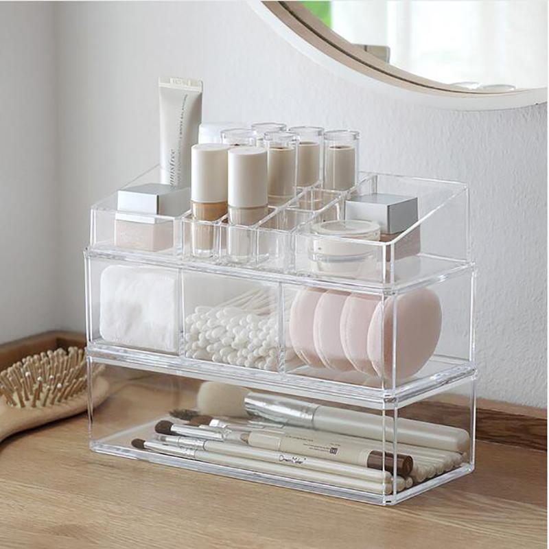 Abbinabile trucco trasparente Organizzatore Storage Box acrilico compongono Organizzatore cosmetico trucco dell'organizzatore di immagazzinaggio cassetti organizzare
