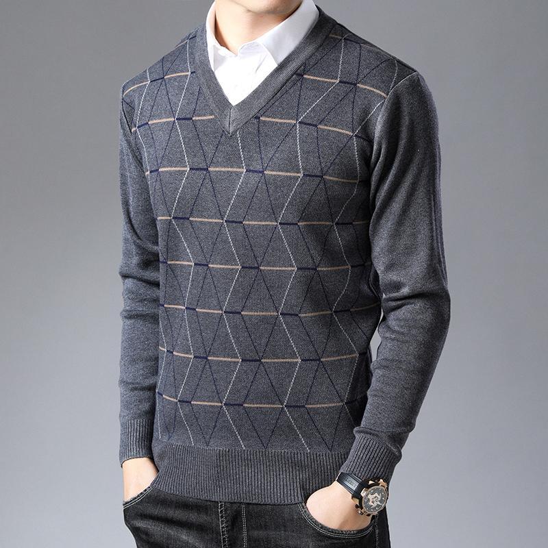 Nueva marca de moda suéter para hombre con capucha cuello en V Slim Fit Los puentes de punto grueso de otoño caliente del estilo coreano de la ropa ocasional de los hombres 201007
