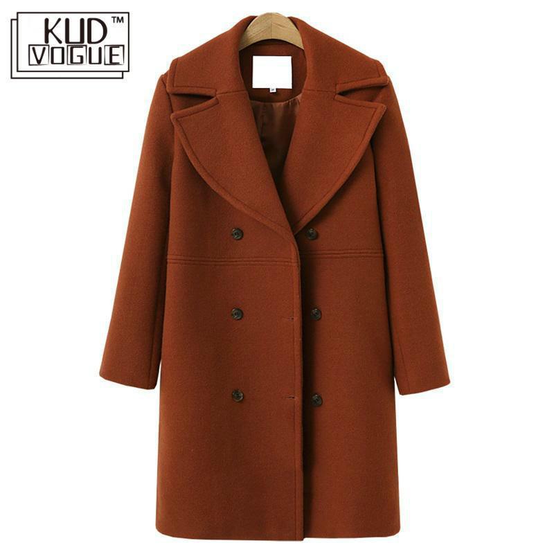 Mujeres de lana mezclas de mujer abrigo de invierno otoño largo trinchera coreano casual talla grande talla abrigo manga outwear mujer elegante chaqueta 2021