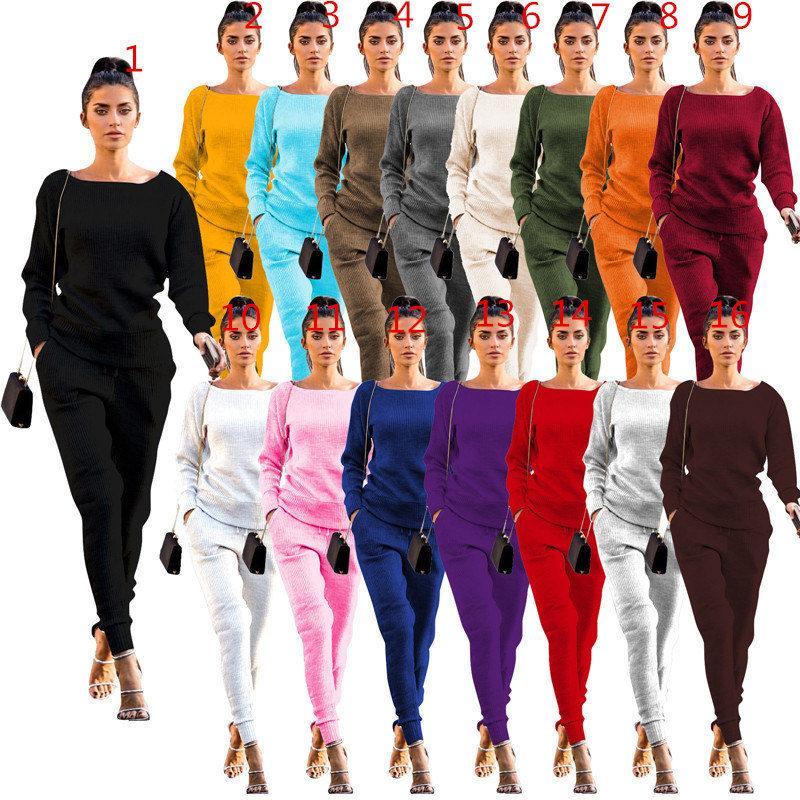 Осень зимние женщины спортивные стерлинговые толстовки с длинным рукавом толстовка + брюки брюки 2 частей набор мода дизайн свитер наряды костюм одежда S-2XL