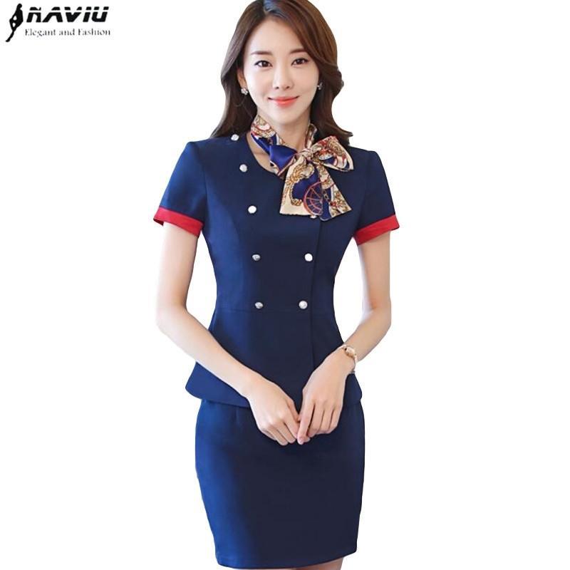 Профессиональный набор Стюардисса Униформа Новая мода формальные женщины с коротким рукавом Blazer с юбками офиса дамы плюс размер работы 201111