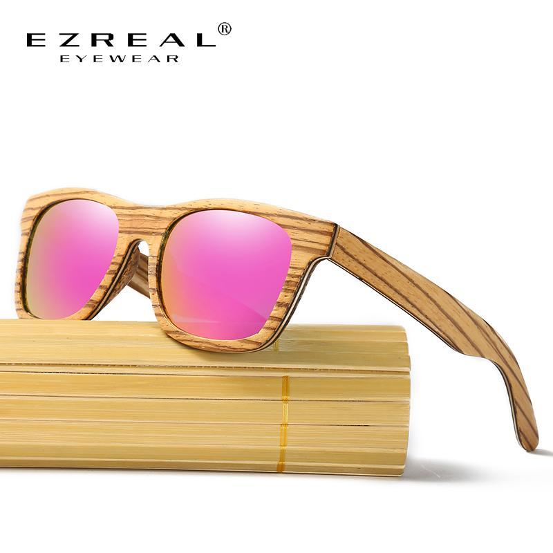 EZREAL Polarized Wood Sunglasses Retro Round Frame Driving Sun Glasses Handmade Zebra Wooden Eyewear Glasses Drop Shipping