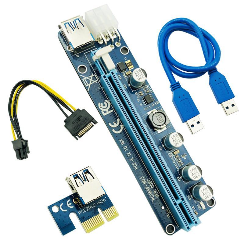 Ver 008c 60cm pci-e Удлинитель PCI Express Riser Card 1x до 16x + USB 3.0 кабельный PCI-E SATA 15 PIN-код до 6 PIN-сигнала для машины BTC