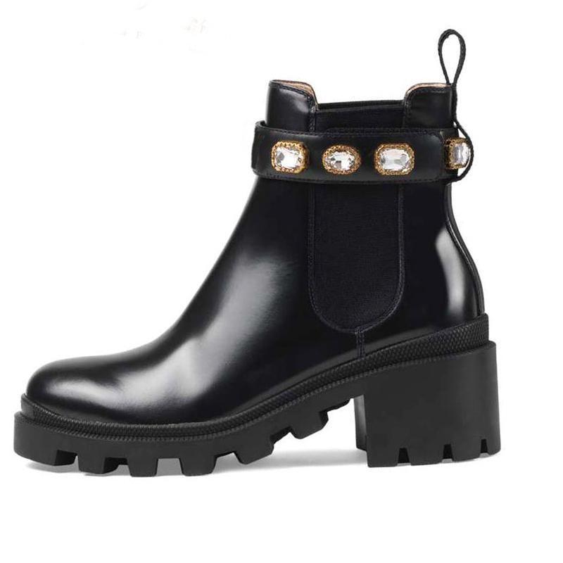 Martin botas mulheres de 100% couro Sapatos clássico Bee Grosso saltos de couro de alta salto alto botas de Senhora Diamante Moda botas curtas tamanho grande 35-41-42