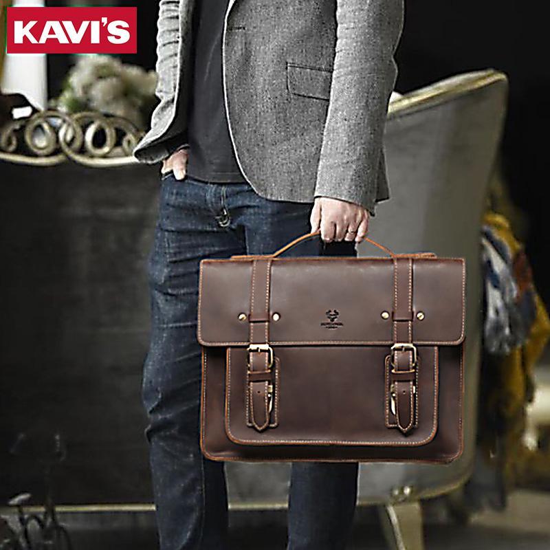 HBPKAVIS New Men Leather Coffee Briefcase Business Handbag Messenger Male Vintage Shoulder Bag Men's Laptop Travel Bags Hot Q0112