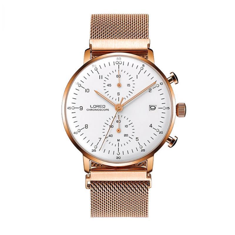 Loreo Mens Press Multifunction Dial Chibletin Business Кварцевые наручные часы