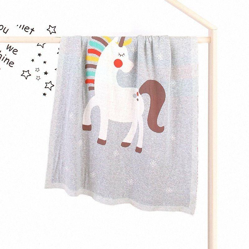 Детские Unicorn Одеяла для новорожденной Вязаной хлопка Весны пеленать девушку Мальчик прогулочной коляски Одеяло Cobertor Infantil Wrap Месячных Дети Одеяло jbuI #