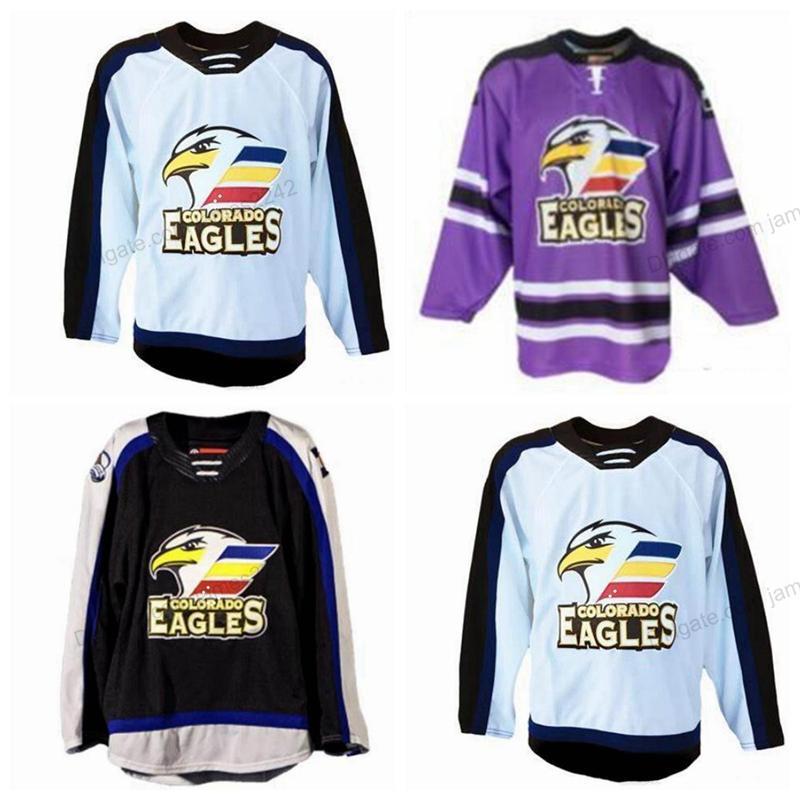 Barato Custom Retro 2018 20 Colorado Eagles Hockey Jersey All cosido blanco Negro Púrpura Cualquier tamaño 2XS-5XL Nombre o número Envío Gratis