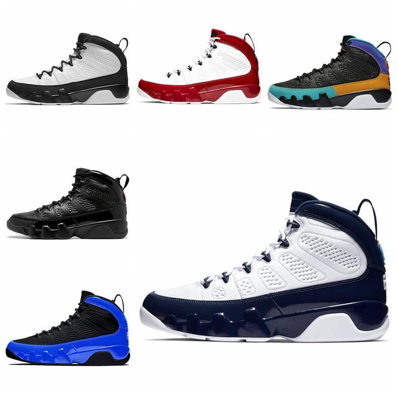 basquete 9 Mens Trainers Jumpman Racer azuis Bred Tamanho Gym Red Citrus alta qualidade Treinador Desportivo Sneakers 41-47