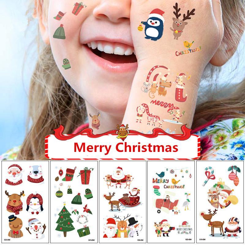 Frohe Weihnachten Tatto Aufkleber Temporary Body Art Tattoo für Mädchen-Jungen Cute Snowflake Elk Gesicht Hals Arm Auslegung der Verfassungs-Fälschungs-Mode-Aufkleber INS