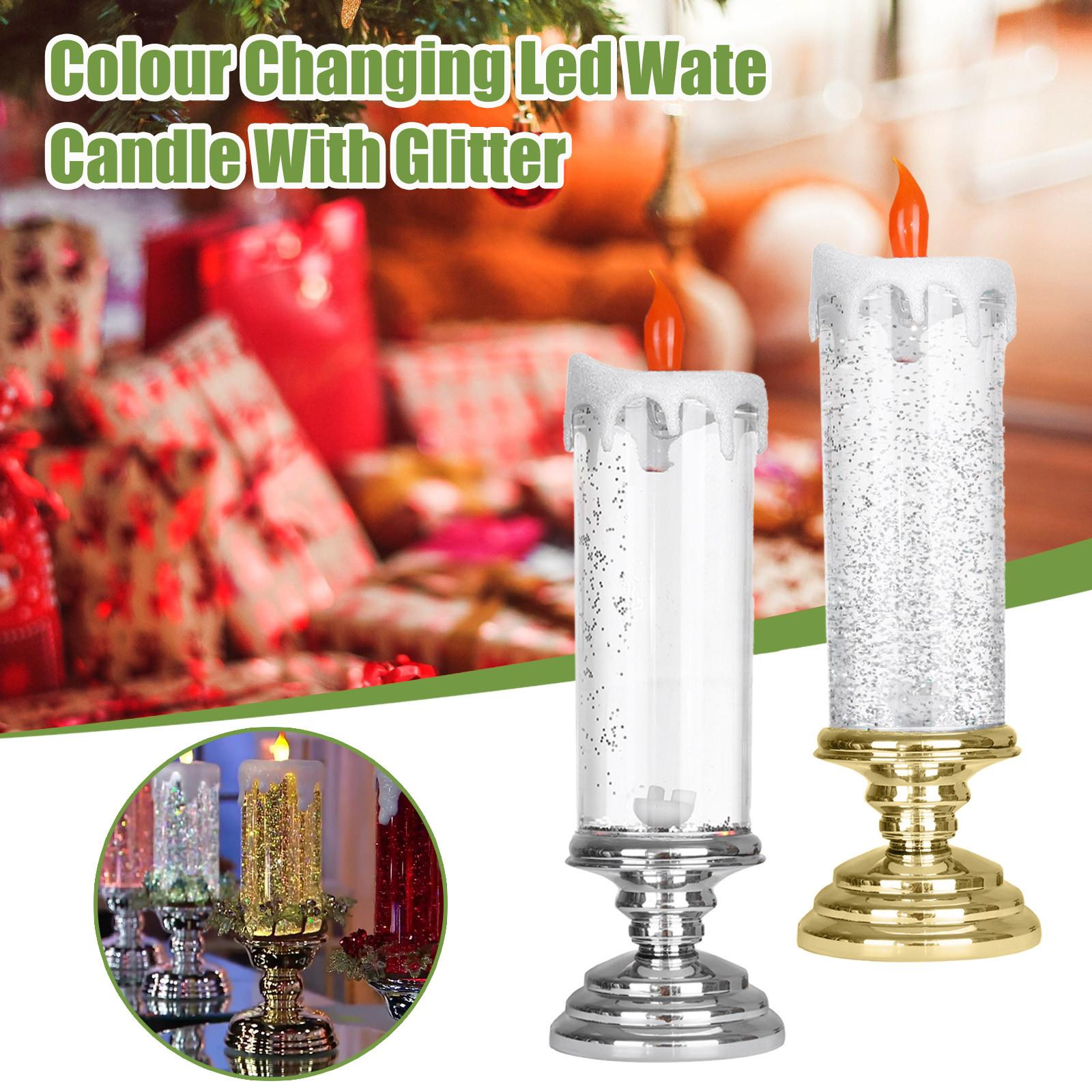 Rotating Cambiare colore decorazione di scintillio LED Flameles Romantica Candela Crystal Light 300ml di Natale senza fumo candela di sicurezza