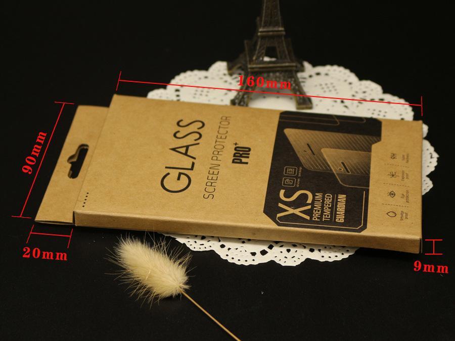 Caja de embalaje / caja de papel / caja de papel de Kraft Papel para Galaxy Note 8 9 S10 para iPhone 12 11 6S Pulso de protector de pantalla de vidrio templado