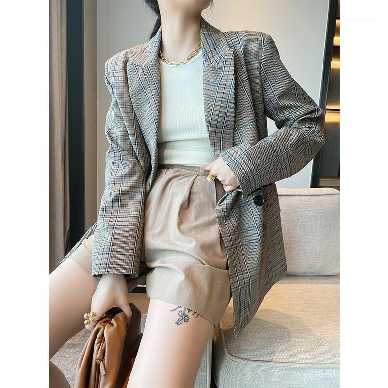 HarleyFashion Woods Wood Femme Fall 2020 Nouvelle Ceinture avec Taille Fermé Thin Thin Retro Style Casual Plaid Blazer Jacket1