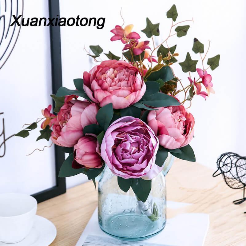 11 Kopf Pfingstrose Künstliche Blumen Blumenstrauß Fall Hochzeit Mittelstücke Dekoration Gefälschte Blume Home Wohnzimmer Dekor