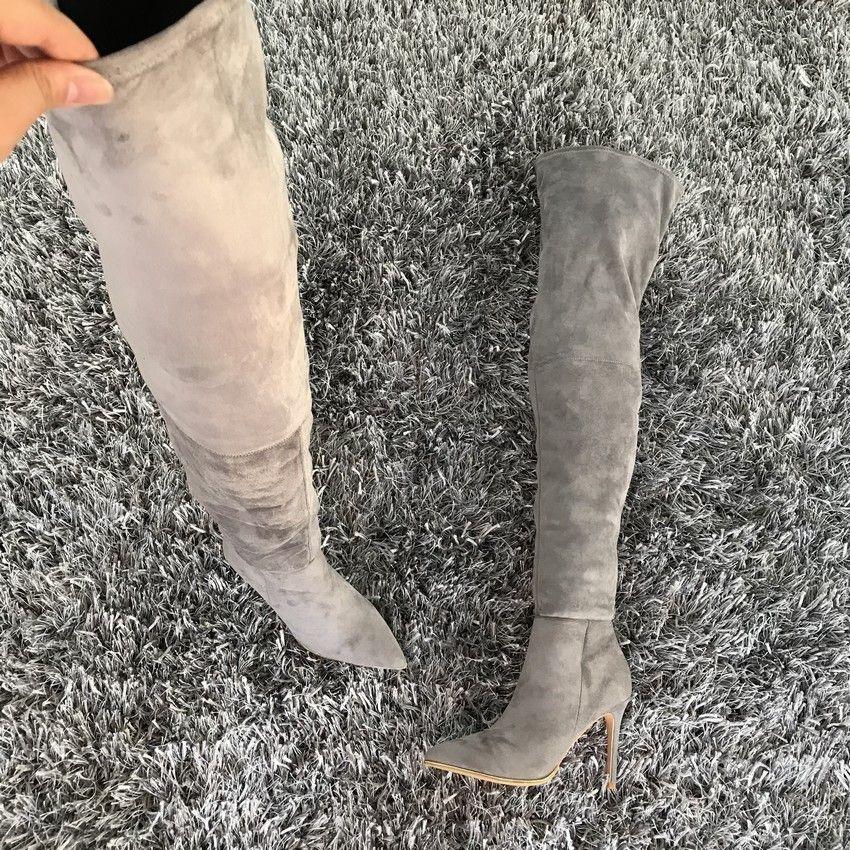 Mulheres sobre o joelho sexy coxa 2019 outono inverno senhoras moda alto salto alto botas sapatos mulher mx200508