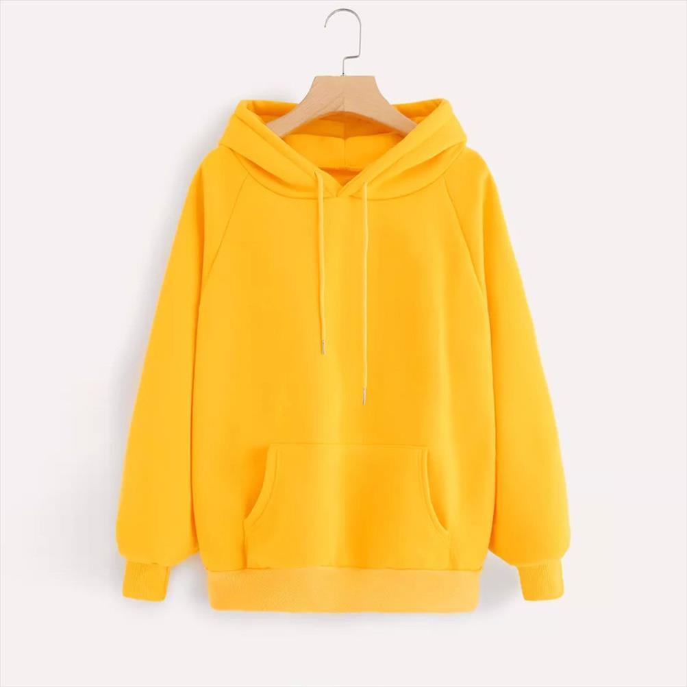 2020 invierno ocasional con capucha para mujeres Escudo sudaderas de manga larga con capucha de la muchacha amarillo flojo con capucha mujer gruesa