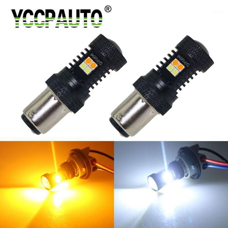 2Pcs 1157 P21/5w led Dual Color lamp Bulbs Bay15d 7443 3157 3030 LED Tail light Car Vehicle Brake Turn Signal Light White yellow1